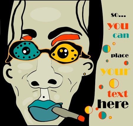 vector longhaired rock man with cigarette and glasses and khaki grunge background, retro style Illustration