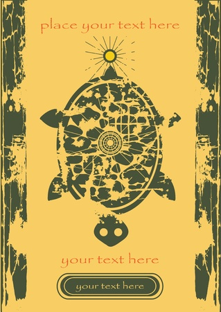 vector turtle and sun on old paper, retro background for text