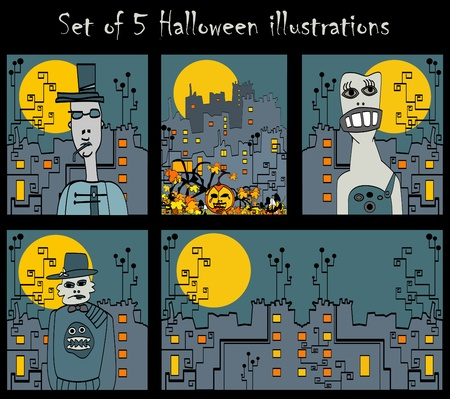 set of 5 vector halloween bizarre illustrations with pumpkin and strange persons