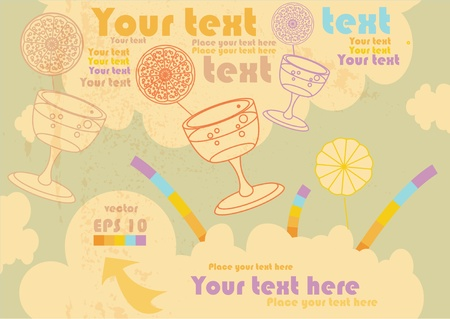 tubules: retro sky with glasses and tubules, clouds and arrows, vector background for text, old paper and grungy texture