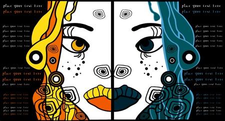 dreadlocks: conjunto de dos vectores de dibujos animados de Halloween retratos mujer, el partido de fondo del texto