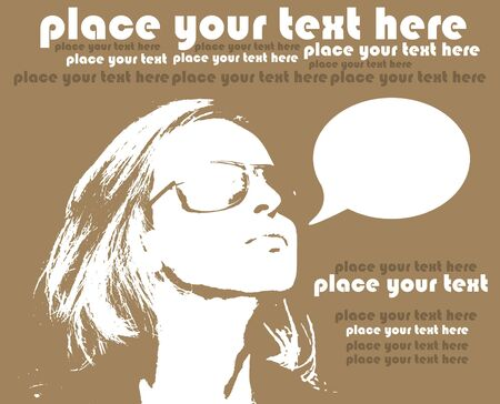 brown background with woman in glasses, grunge design Illustration