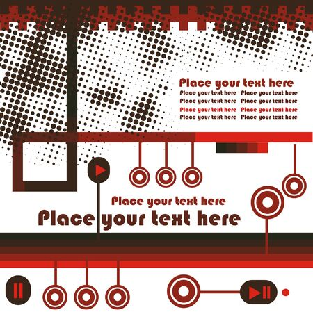 electronic  video and audio retro background for text with buttons and red stripes, grunge design