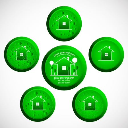 set buttons with house, business or eco concept Vector