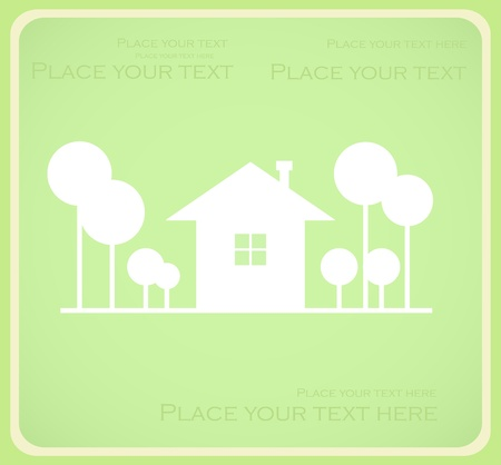 green background with house and trees Vector