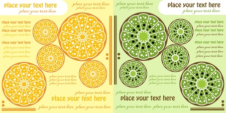 orange and kiwi,fruits menu design Vector