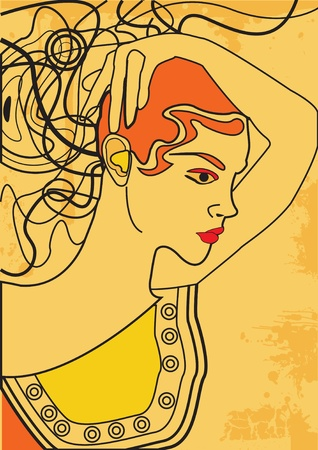 retro woman portrait, greek person Vector