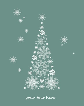 best wishes: Christmas card with tree and snowflakes Illustration