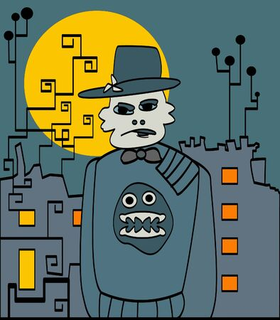 Halloween strange man in the city Stock Vector - 11243745