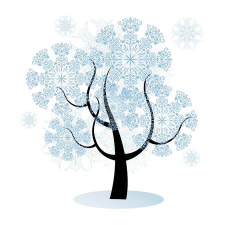 non urban scene: isolated christmas tree with snowflakes, background with modern design