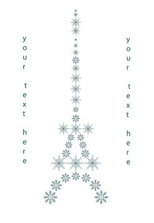 built tower: la torre Eifel, Navidad de fondo para el texto con los copos de nieve