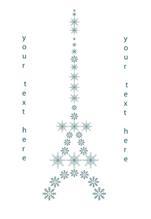 eifel tower: the eifel tower, christmas background for text with snowflakes