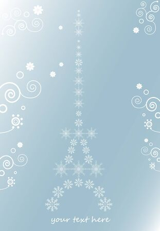 The eiffel tower, christmas background for text with snowflakes Vector