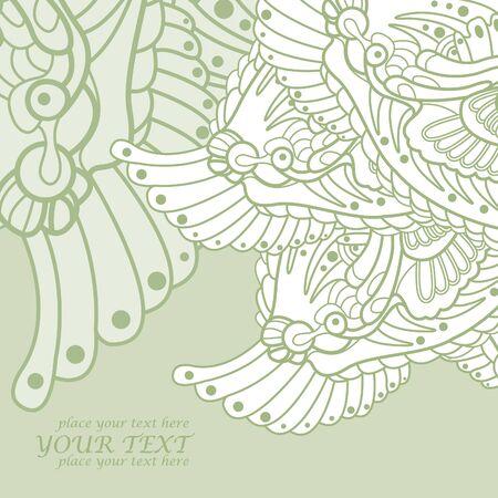 tatouage dragon: vecteur de fond abstrait vert pour le texte avec ornement