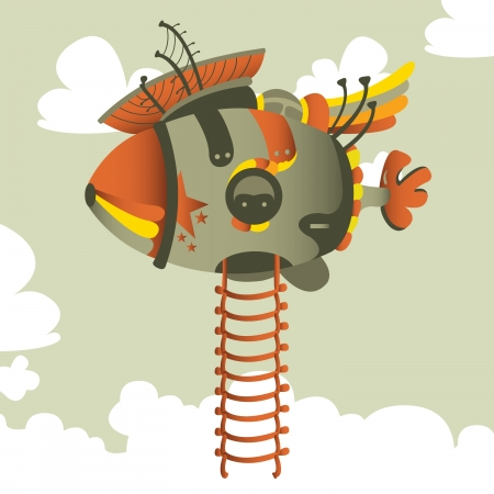 out time: cartoon airship design Illustration