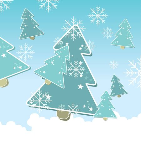 christmas background with christmas trees  and snowflakes Vector