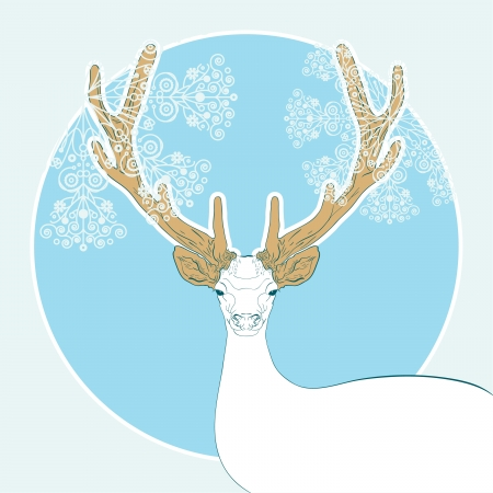 christmas background with deer and snowflakes Illustration