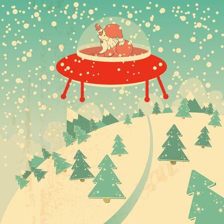 ufo: christmas card with santa claus, snow and christmas trees, conceptual retro design Illustration