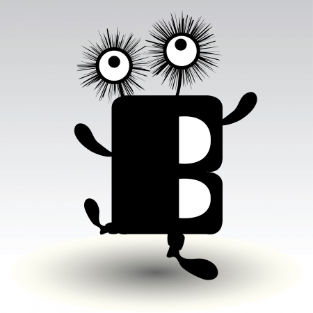 style: letter b, funny character design
