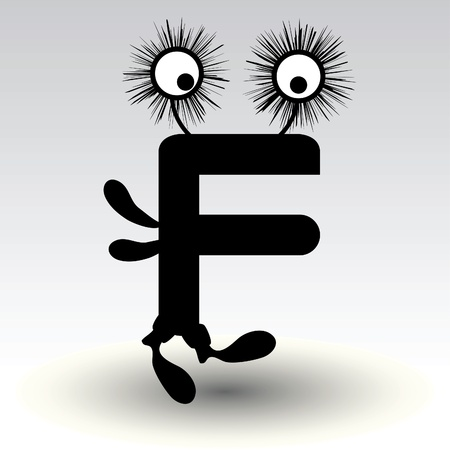 alphabetical letters: letter f, funny character design