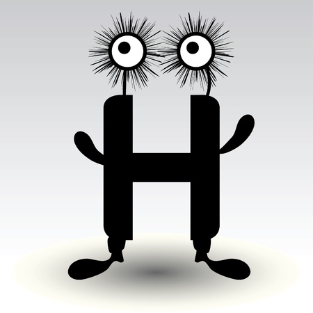 letter h, funny character design Stock Vector - 15884876