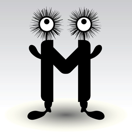 communicable: letter m, funny character design
