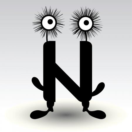 letter n, funny character design Stock Vector - 15884877
