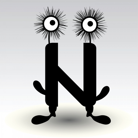 alphabetic character: letter n, funny character design Illustration