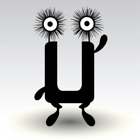 charismatic: letter u, funny character design