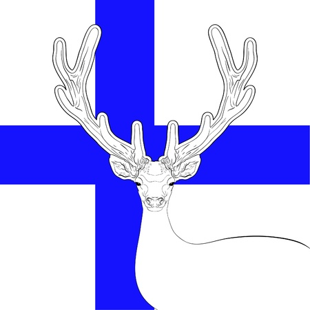 lapland: national flag of finland with deer