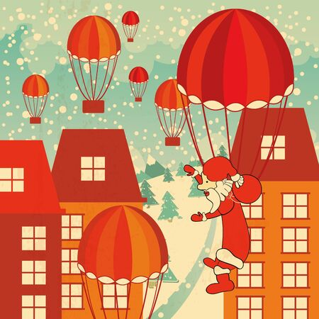 christmas background with santa claus, snowy city and gifts