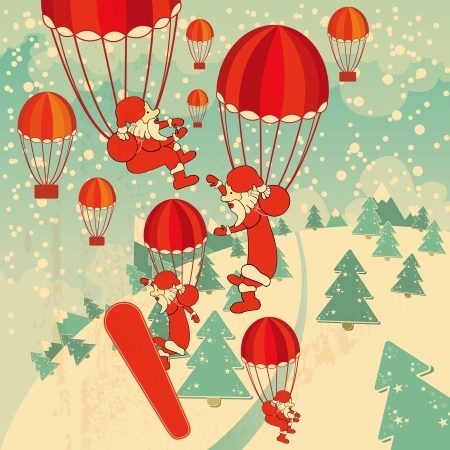christmas background with santa clauses Vector