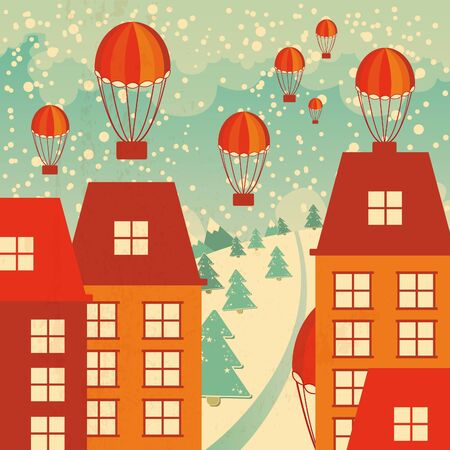 christmas background with snowy city, houses, chtistmas trees and gifts Vector