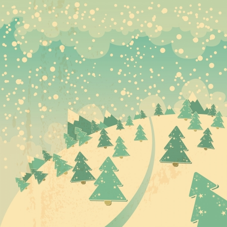 christmas background with snowy winter landscape and christmas trees Vector