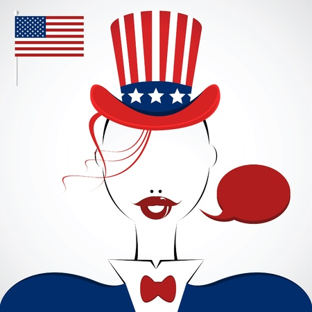 unrecognizable: american woman silhouette with hat and national flag  Illustration