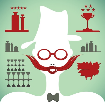 bartender silhouette with mustache and glasses Vector
