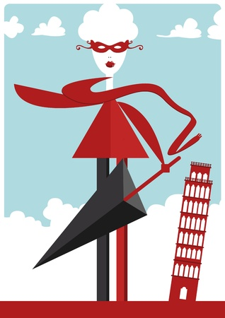 craze: fashion illustration with woman and  Leaning Tower of Pisa Illustration