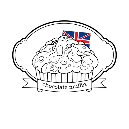 sweet muffin logo with britain flag and frame with ribbon Vector