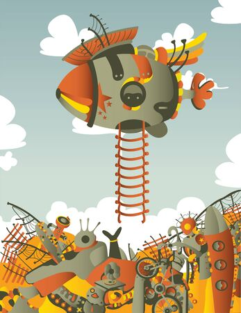 vertical illustration with dirigible Vector
