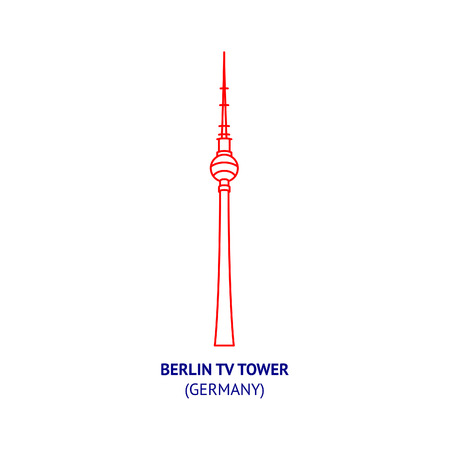 Berlin TV tower, Germany, thin vector icon