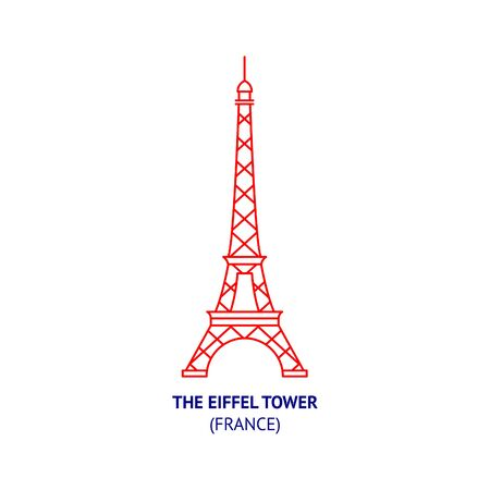 The Eiffel Tower, France, thin vector icon