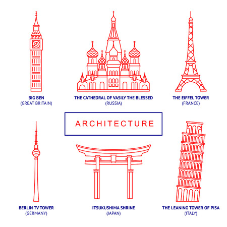 World famous buildings, vector thin icons set