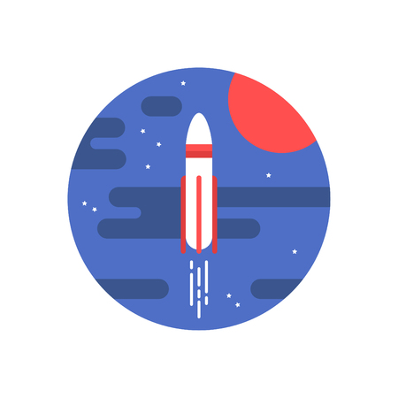 space rocket, flat vector icon Illustration