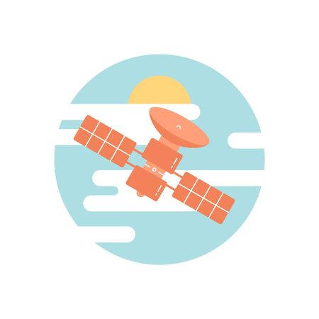 satellite, flat vector Illustration