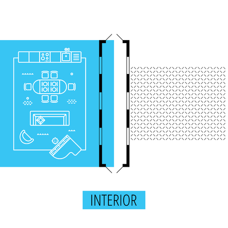 geometric lines: letter I, architectural plan, vector conceptual type. Thin line interior icons, top view Illustration