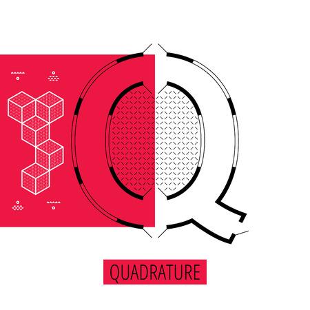 architectural styles: letter Q, architectural plan, vector conceptual type. Thin line quadrature concept Illustration