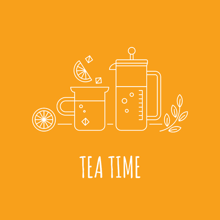 pictogramm: french press with the cup, tea leaves and lemon, thin linear illustration Illustration