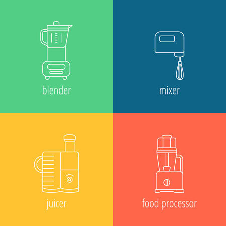 pictogramm: kitchen appliances, blender, mixer, juicer, food processor, thin vector icons