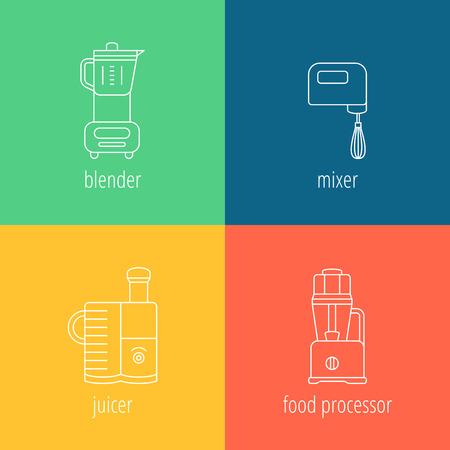 processor: kitchen appliances, blender, mixer, juicer, food processor, thin vector icons