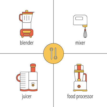 food processor: kitchen appliances, blender, mixer, juicer, food processor, vector icons